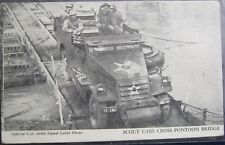 Scout Cars Cross Pontoon Bridge US Army Signal Corps Unposted