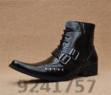 Cowboystiefel Herrenschuhe Schnür-stiefel Stiefeletten  in Schwarz   Gr.38-43/44