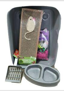 Cat kitten starter kit,set,pack, cat toys,litter tray,Grey