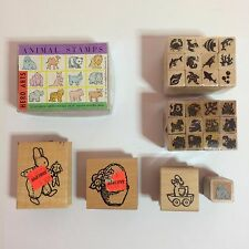 Set of 40 Animal Themed Rubber Stamps - 1988-1995 - Daisy Kingdom - Hero Arts