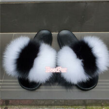 Womens Real Fox Fur Sliders Slides Beach Slippers Sandals Holiday Party Shoes