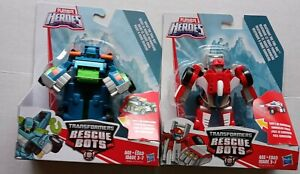Lot of 2 Playskool Heroes Transformers Rescue Bots Hoist the Tow, and Heatwave