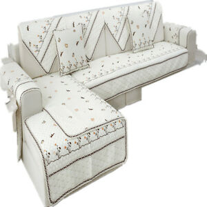L Shape Embroidery Sofa Slipcover Anti Slip Protector Couch Covers Sofa Mat Pad
