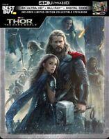 Thor: The Dark World SteelBook Digital Copy 4K Ultra HD Blu-ray/Blu-ray 2013 NEW