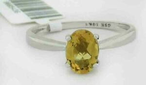 GENUINE 0.76 Cts YELLOW TOPAZ RING 10K WHITE GOLD * Free Certificate Appraisal *