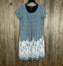 Perceptions Women's Blue White Shift Pintuck Dress Size L