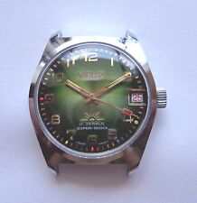 Vintage Mechanical date watch VIALUX Super Swiss Made Cal. FHF 96-4 green dial