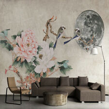 Vlies Fototapeten Wandtapeten Wandbilder Pfingstrosenblumen und Vögel 11765