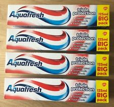 4 x Aquafresh toothpaste 125ml. Various flavours. New. Free P&P