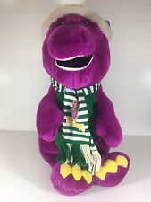 Vintage Large Barney The Dinosaur Christmas Plush Stuffed Animal Santa Hat Scarf