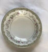 Vintage Meito china KENWOOD Gray Green FLORAL SALAD PLATE Made in Japan Set of 4