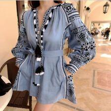 Women Ethnic Embroidery Deep V Tassel Korean Loose Long Sleeve Mini Dress