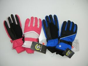 Two (2) CHAMPION Blue + Pink Warm WINTER GLOVES Ski Kid Sz YOUTH 4/7 Small New!