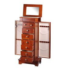 New High Quality Diplomat Mohogany Wood Jewelry Armoire Chest w/Charging Station