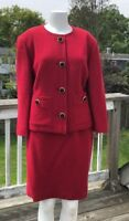 VINTAGE MORLY'S MADE IN ITALY  RED WOOL 1980's RETRO SETUP SKIRT SUIT 48