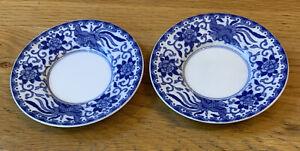 Vintage Noritake Howo Blue White Phoenix Set 2 X Demitasse Coffee Saucers 11.5cm