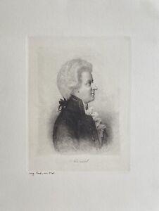 Etching Portrait Wolfgang Amadeus Mozart Musician