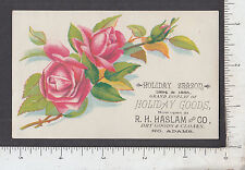 8893 R. H. Haslam dry goods cloaks c 1890 advertising trade card North Adams, MA