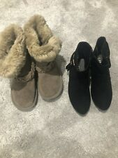 Girls Next Taupe Fluffy Boots Size 13 And Peacock Black Mini Heel Boots Size 1