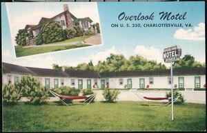 CHARLOTTESVILLE VA Overlook Motel US Route 250 Vintage Virginia Linen Postcard