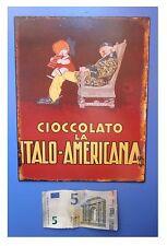 """Targa vintage """"Cioccolato La Italo-Americana"""", metallo, cm 25x20"""