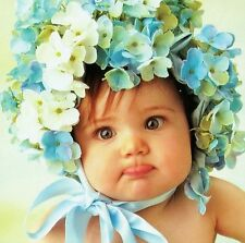"V Tabor Smith ""BABY FACE"" Flower Bonnet Blue Floral BOXLESS Jigsaw Puzzle *NEW*"