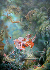 "DAVID ALDUS ORIGINAL OIL CANVAS ""The Swing""  AFTER FRAGONARD ROCOCO   PAINTING"