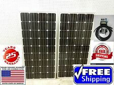 2- 165  Watt 12 Volt Battery Charger Solar Panel Off Grid RV Boat 330 watt total
