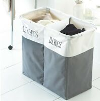 2 COMPARTMENT LAUNDRY CLOTHES WASHING STORAGE BASKET HAMPER DARK AND LIGHTS