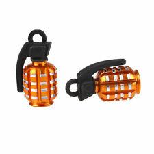2 Pcs Grenade Design Bike Car Motorcycle Bicycles Tyre Air Valve Dust Caps Gold