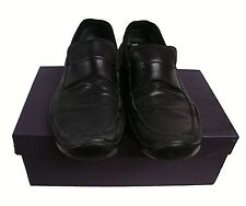 Prada 854 Gomma Novocalf Leather Mens Loafers Black Size US 10 Preowned with box