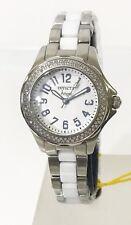 New Invicta 1779 Women Angel Genuine Diamond Stainless White Ceramic Swiss Watch
