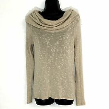 Soft Joie tunic sweater XS marled cowl knit top cream nubby semi sheer pullover