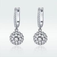 Luxury 925 Sterling Silver Drop Dangle Elegant Earrings Wedding Jewelry Gifts