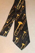 Big Brassy Trombone's On A Brand New Black 100% Polyester Neck Tie !#1 free ship