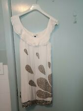 Rachel Gilbert white dress with lots of silver beading and sequins in size 2
