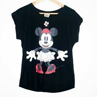 Disney Starlet Collection Minnie Mouse Sequins Womens T-Shirt Size 10 Black