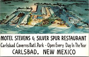 Postcard Motel Stevens and Silver Spur Restaurant in Carlsbad, New Mexico~4125