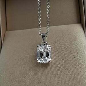 2CT Emerald Cut Solitaire Moissanite Diamond Pendant Necklace14K White Gold Over