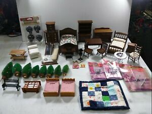 Vintage wooden miniature dollhouse Furniture  lot 2 bedrooms and patio