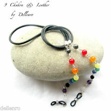 ✫ 9 Chakra ✫ Piedras Preciosas Y Cuero recetadas gafas gafas gafas Cadena Porta Cable