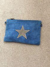 blue suede handbag
