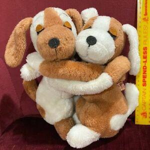 VINTAGE 1976 R DAKIN USA HUGGING BROWN PUPPY DOGS STUFFED ANIMAL PLUSH TOY SET!