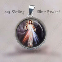 Divine Mercy of Jesus Catholic Pendant. Sterling Silver 925 Medal 20mm