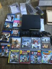 PS3 CONSOLE 250GB BLACK 2x CONTROLLERS AND REMOTE CONTROL ORIGINAL BOX