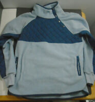 WOMEN'S ABERCROMBIE & FITCH ASYMMETRICAL BLUE SNAP-UP SHERPA FLEECE SIZE LARGE