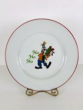 "Disney Mickeys Vintage Holiday Dinner Plate Christmas Porcelain Goofy 10.5"""