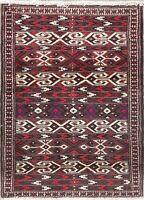 """Geometric Afghan Wool 3x4 Rugs MERLOT IVORY Kitchen Rug Hand-Made 3' 6"""" x 2' 6"""""""
