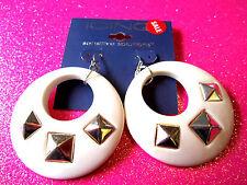 White Hoop Earrings 2 Inch