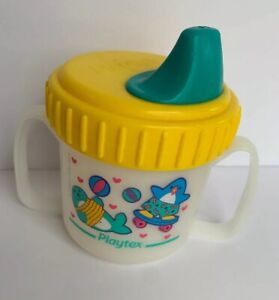 Vintage 1997 Playtex Toddler Plastic Baby decorated  Sippy Cup 90s